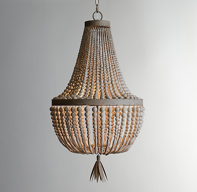 scroll barn products draped bead pottery previous c chandelier wood to item beaded amelia chandeliers