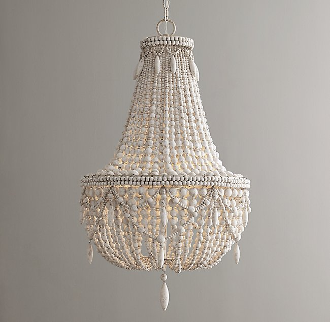 Anselme large chandelier weathered white mozeypictures Gallery