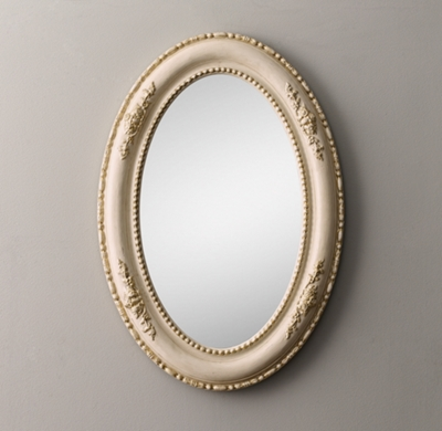 19th C Louis Philippe Oval Mirror Gilded Parchment
