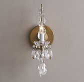 Manor Court Crystal Single Sconce - Aged Gold