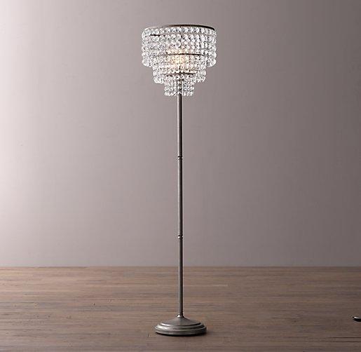 Soho crystal floor lamp aged pewter