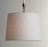 Embroidered Star Burlap Pendant - Bleached