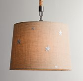 Embroidered Star Burlap Pendant Natural