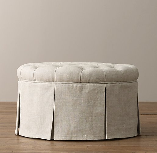 Classic Round Tufted Upholstered Ottoman