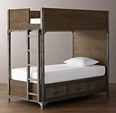 Industrial Locker Twin-Over-Twin 3-Drawer Storage Bunk Bed