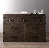 Wilkes Trunk Wide Dresser & Topper Set