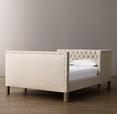 Devyn Tufted tête-à-tête Upholstered Bed with weathered oak leg