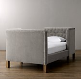 Devyn Tufted tête-à-tête Velvet Bed with weathered oak leg