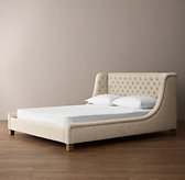 Devyn Tufted Upholstered Wing Bed with weathered oak leg