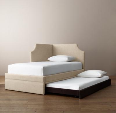 Right Corner Bed Shown In Sand Belgian Linen