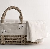 Hand-Knotted Sheep Moses Basket Bedding & Ash Basket Set