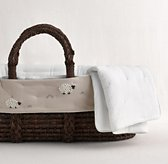 Hand-Knotted Sheep Moses Basket Bedding & Espresso Basket Set