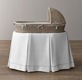 Vintage-Washed Diamond Matelassé Bassinet Bedding - Grey