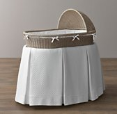 Vintage-Washed Diamond Matelassé Bassinet Bedding - White