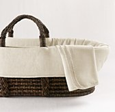 Washed Organic Linen Moses Basket Bedding & Espresso Basket