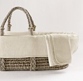Washed Organic Linen Moses Basket Bedding & Ash Basket