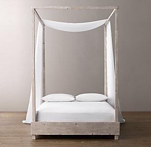 Sheer Belgian Linen Bed Swag