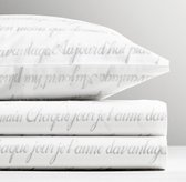 French Poetry Percale Sheet Set