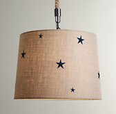 Embroidered Star Burlap Pendant - Dove