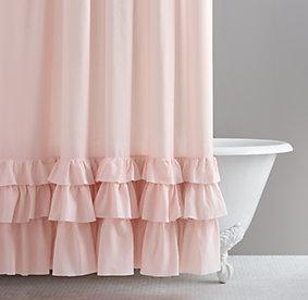 Frayed ruffle shower curtain for Restoration hardware bathroom rugs