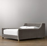 Devyn Tufted Velvet Bed - Weathered Oak