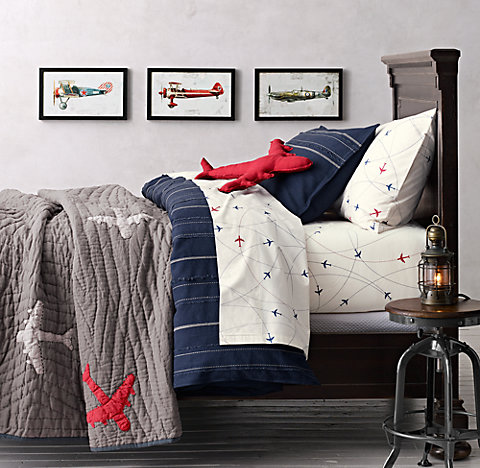 Vintage Baseball Stripe Airplane Route Bedding Collection