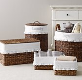 Seagrass Ruffled Cotton Storage Liners