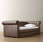 Chesterfield Tufted Leather Daybed With Trundle