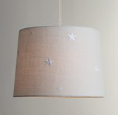 Embroidered Star Burlap Pendant With Fabric Cord Bleached