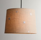 Embroidered Star Burlap Pendant With Fabric Cord Natural