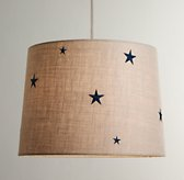 Embroidered Star Burlap Pendant With Fabric Cord Dove
