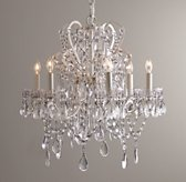 Manor Court Crystal 6-arm Chandelier - Vintage White