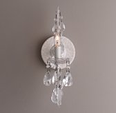 Manor Court Crystal Single Sconce - Vintage White