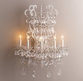 Manor Court Crystal 5-arm Sconce Vintage White