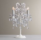 Manor Court Crystal Table Lamp - Vintage White