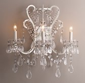 Manor Court Crystal 3-arm Sconce - Vintage White