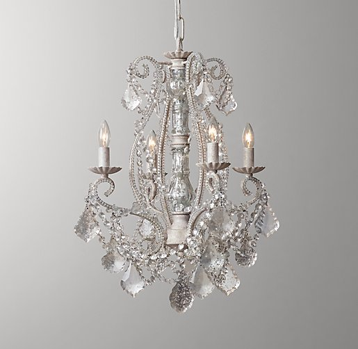 Aislynn mercury glass 4 arm chandelier white aloadofball Choice Image