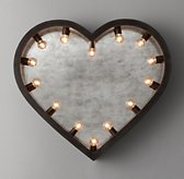 Illuminated Antiqued Mirror Heart