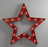 Vintage Illuminated Oversized Framed Star - Distressed Red