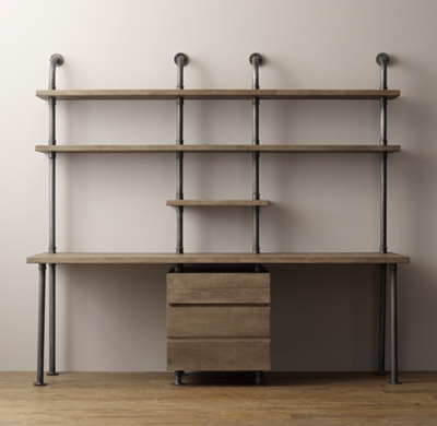 Industrial Pipe Double Desk Amp Shelving With Drawers