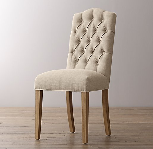 Tufted Camelback Desk Chair Weathered Oak