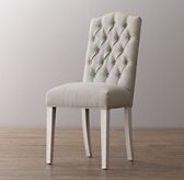 Tufted Camelback Desk Chair - Aged White