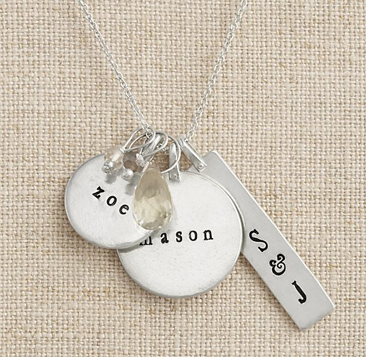 Personalized Sterling Silver Charm Necklace