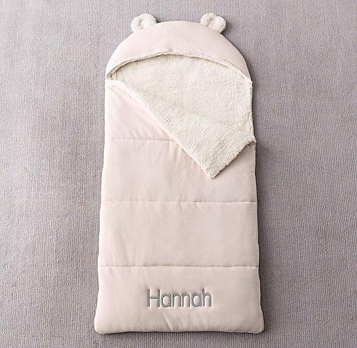 Luxe Sherpa Hooded Sleeping Bag Petal