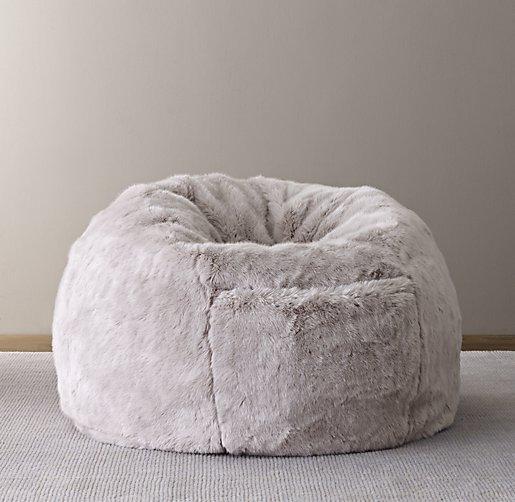 Luxe Faux Fur Bean Bag Grey Fox