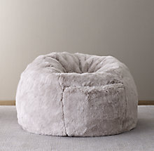 2111093034 Luxe Faux Fur Bean Bag - Grey Fox