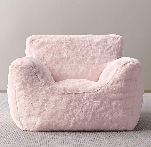 Luxe Faux Fur Bean Bag Chair Petal