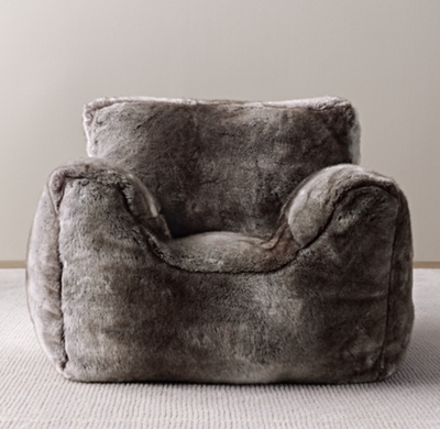 Luxe Faux Fur Bean Bag Chair Wolf