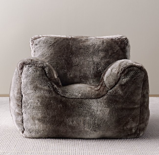 Sensational Luxe Faux Fur Bean Bag Chair Wolf Squirreltailoven Fun Painted Chair Ideas Images Squirreltailovenorg