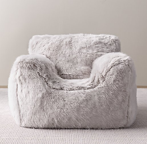 Luxe Faux Fur Bean Bag Chair Grey Fox